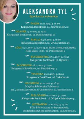 Trasa spotkań z Aleksandrą Tyl listopad/grudzień 2017